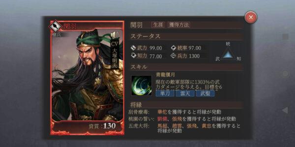 正伝三国志の赤色武将「関羽」